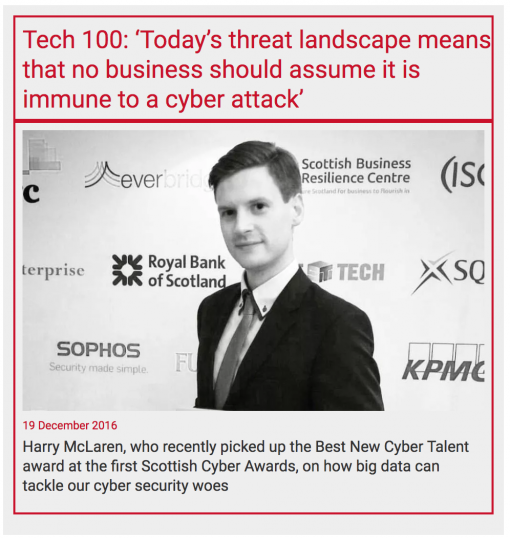 Included on the Tech 100 for Scotland